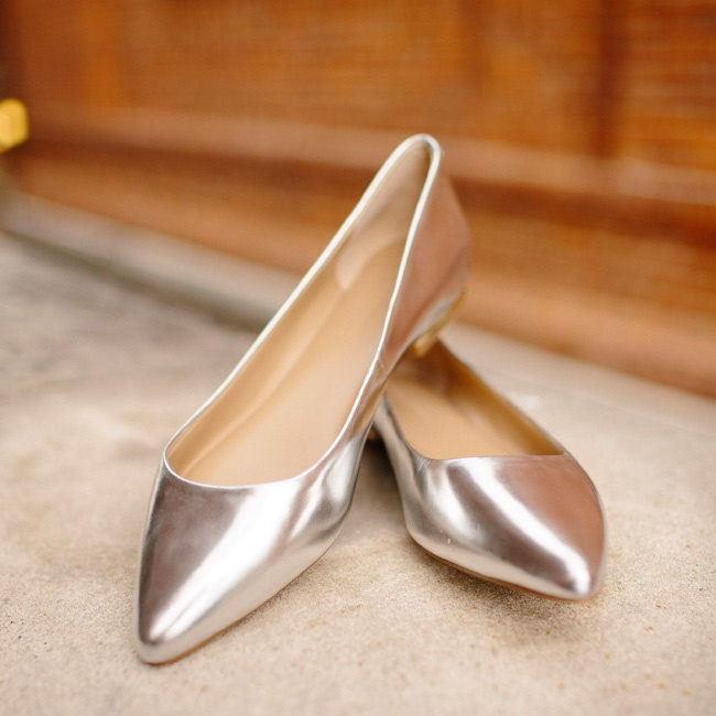 The bride wore metallic shoes with a low heel from Banana Republic.