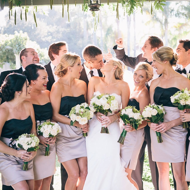 The bridesmaids wore two-toned, strapless dresses with sweetheart necklines.