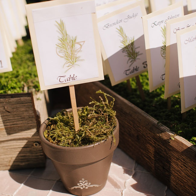 The couple wanted to incorporate their heritage into their wedding as much as possible. In the Czech Republic, where Michael's family originates, rosemary is a traditional component of wedding celebrations. For the escort cards, Renee printed the names of each guest on seed packets filled with rosemary seeds. The packets were then attached to a pop ...