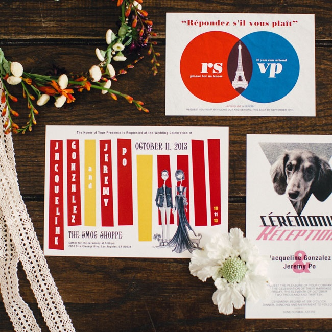 The colorful retro invitations were inspired by Jean-Luc Godard movie posters (Jackie's favorite director).