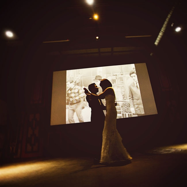 """Jackie and Jeremy danced to Led Zepplin's """"All of My Love"""" while a scene from Jean Luc Godard's Band of Outsiders played in the background."""
