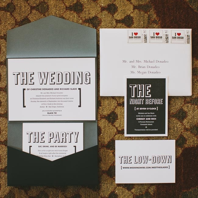 The couple's modern black and white invitation suite inspired the wedding's theme and decor.