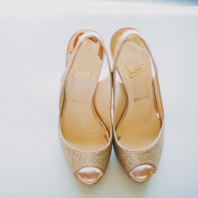 Shimmery gold Christian Louboutin slingback heels added just the right amount of glam to Christine's bridal look.