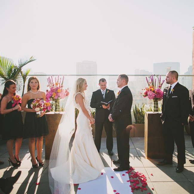 The ceremony took place on the roof of the Andaz Hotel as the sun began to set.