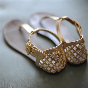 Gold T-Strap Sandals