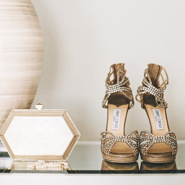 """""""They were actually incredibly comfortable,"""" says Lisa, of her Swarovski-crystal embellished Jimmy Choo shoes."""