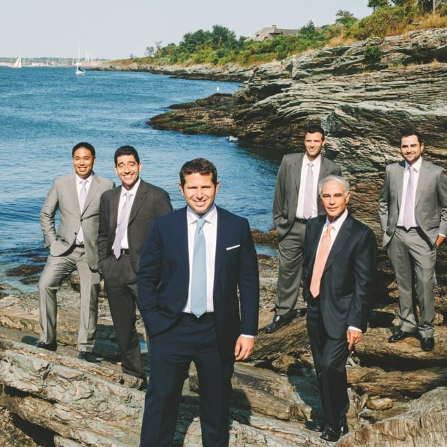The groom and groomsmen all wore their own suits with Hermes ties (gifts from the bride and groom).