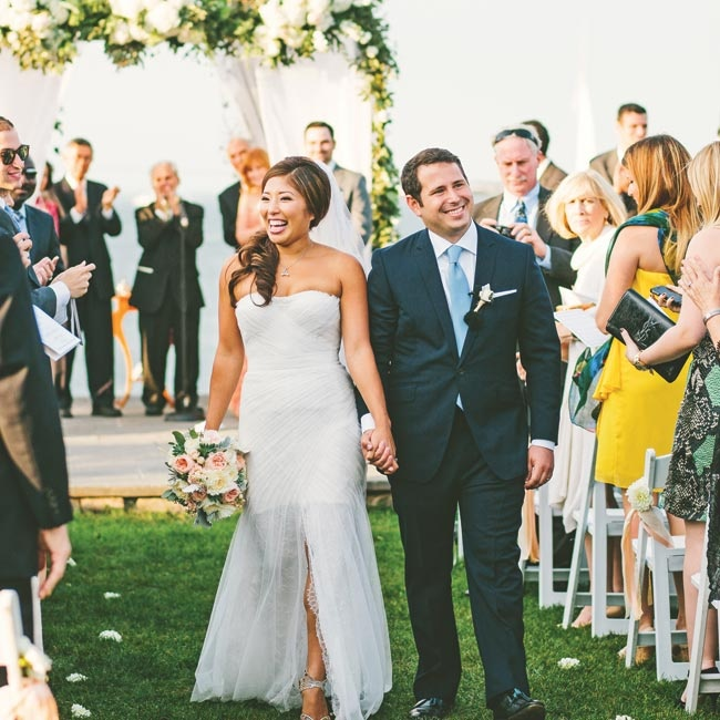 """""""The huppah and terrace perfectly framed the many sailboats that floated by during the ceremony,"""" Lisa recalls. """"With such incredible natural, ambient beauty, we didn't want to overdesign and steal from the location."""