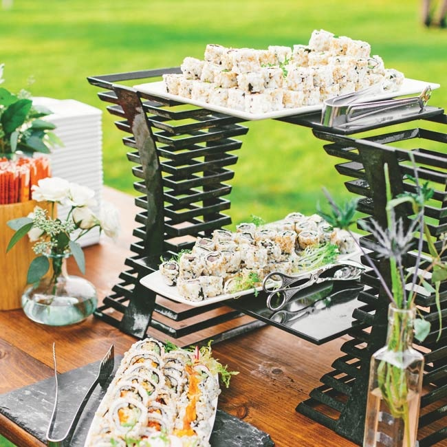 The sushi bar was a crowd favorite during the cocktail hour.