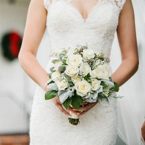 White Rose and Lamb's Ear Bridal Bouquet
