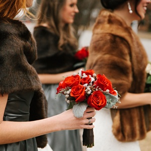 Red Rose and Lamb's Ear Bridesmaid Bouquet