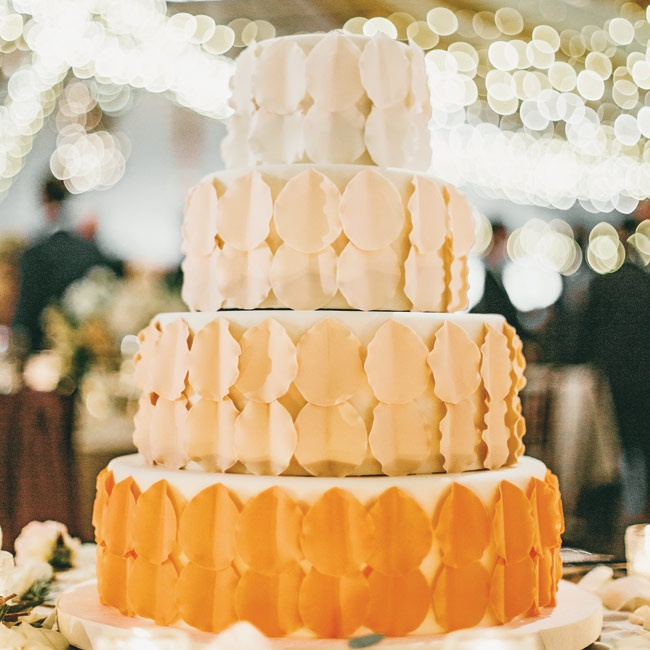 The wedding cake was finished with ombré gum paste petals.