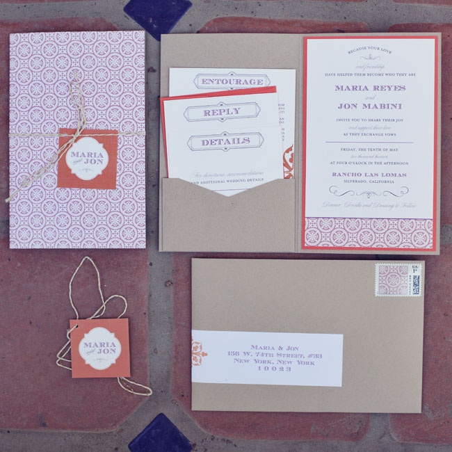 The couple based the design of their invitation suite on the Spanish tiles at the Rancho Las Lomas hacienda. The couple used the colors of the sunset - pink, persimmon and ivory - with hints of gold and selected a booklet style for the invites.