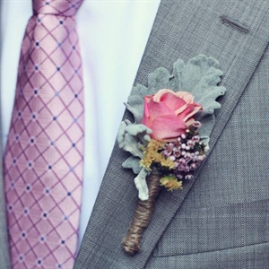 Pink Rose and Lamb's Ear Boutonniere