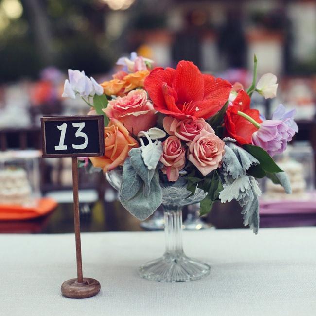 The table numbers were handwritten on dainty miniature chalkboards.