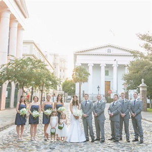 Navy and Gray Wedding Party Looks