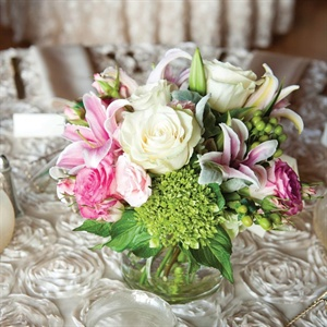 Low Pink and Green Centerpieces
