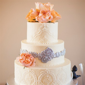 Lace-Detailed Wedding Cake