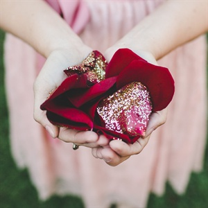 Glitter Covered Rose Petals