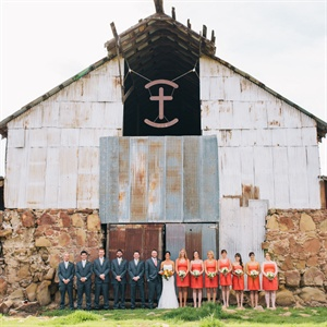 Coral and Gray Wedding Party Look