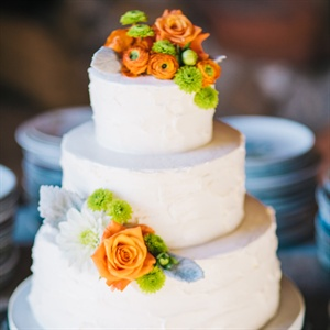 Fresh Flower-Topped Wedding Cake