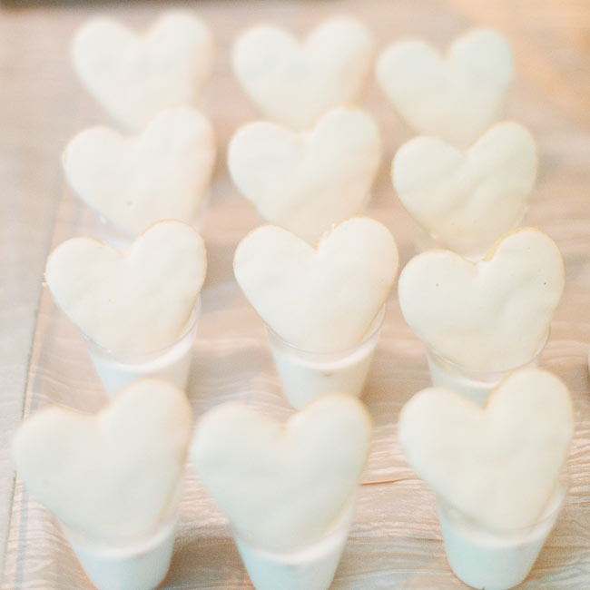 Guests were served heart-shaped sugar cookies in small glasses of milk at the reception.
