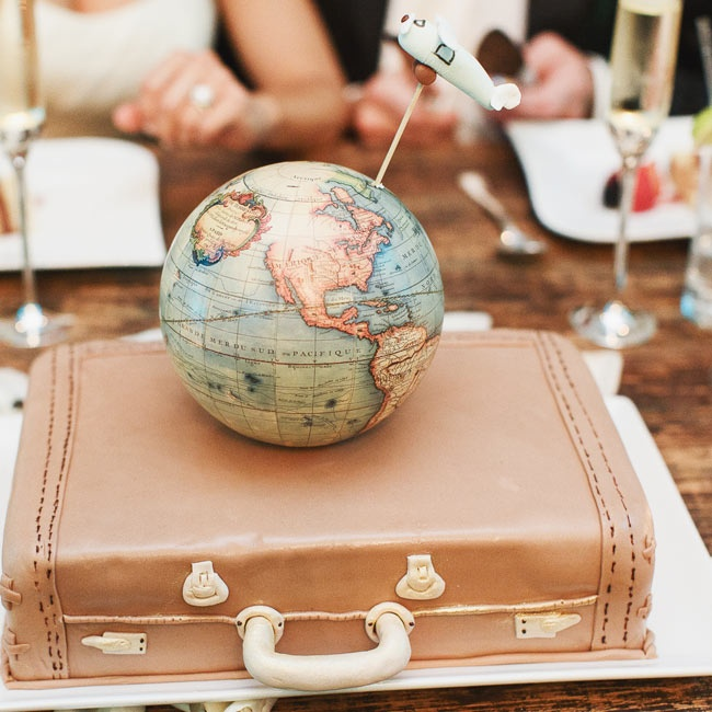 Continuing the travel theme, the groom's cake was a vintage suitcase with a globe and plane on top.