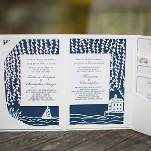 Blue and White Laser-Cut Invitations