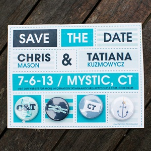 Blue and White Save-The-Dates