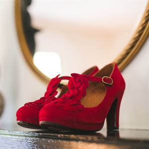 Red Vintage-Inspired Suede Heels