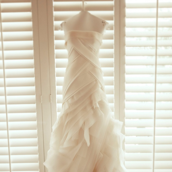 """""""I fell in love with the construction of my Vera Wang silk-organza gown,"""" says Ashley, """"You could lift the top layer of the skirt and see that all the layers were hand-sewn."""""""