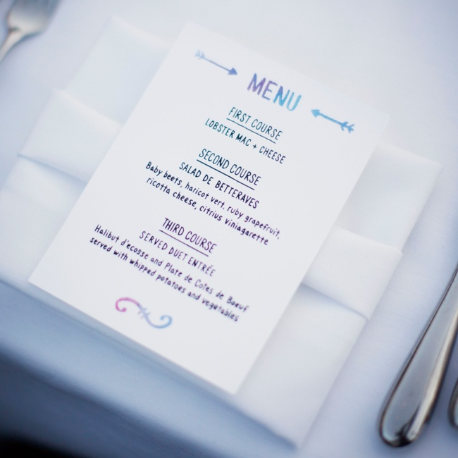 The evening's menu was written in watercolor ink, adding just a hint of color.