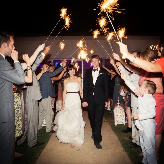 Ashley and Steve made a grand exit through a tunnel of brightly lit sparklers.