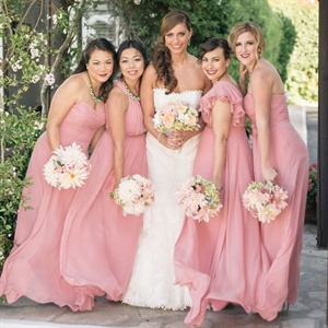 Pink Chiffon Bridesmaid Gowns