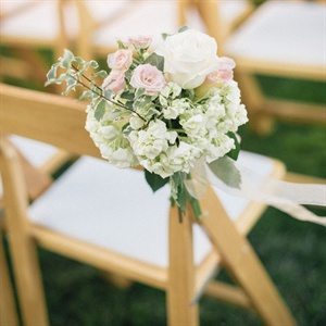 White and Blush Floral Aisle Decor