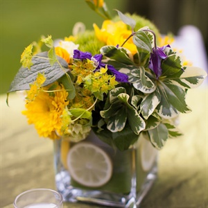 Bright Purple, Yellow and Green Centerpieces