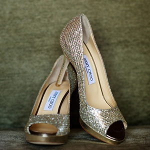 Gold Peep Toe Jimmy Choo Heels