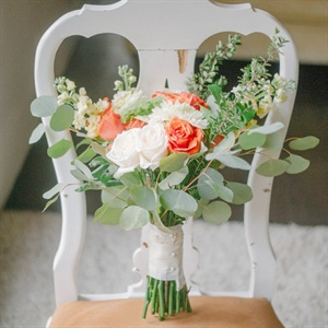 Rustic Coral and White Bridal Bouquet