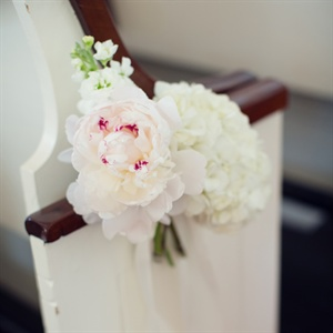 White Floral Pew Decor