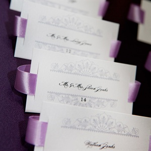 Purple Ribbon Escort Cards