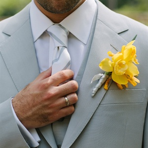 Light Gray Suit with Yellow Boutonniere