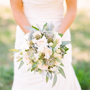 Pale Blue, Green and Ivory Bridal Bouquet