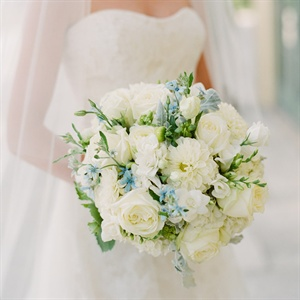 Ivory and Blue Bridal Bouquet