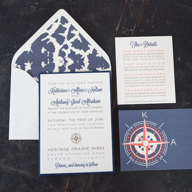 "A compass motif appeared in multiple pieces of the wedding stationery, which complemented their ""Nantucket chic"" style."