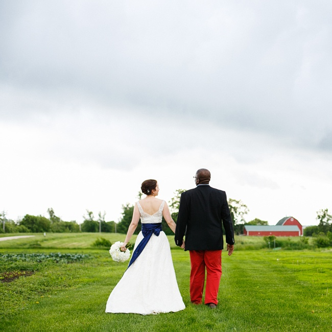 Katherine added a navy sash to her dress for a pop of color. Mixed with her white dress and Anthony's red slacks, they looked like one patriotic pair!