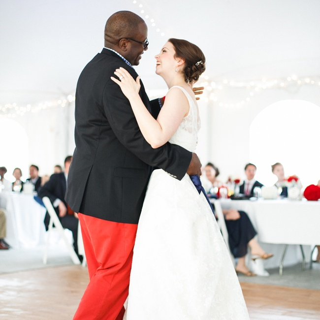 "For their first dance as husband and wife, Katherine and Anthony chose ""At Last"" by Etta James. ""It seemed appropriate after more than 10 years [of dating], and it was a classic way to end one era of our relationship and move into the next,"" Katherine says."