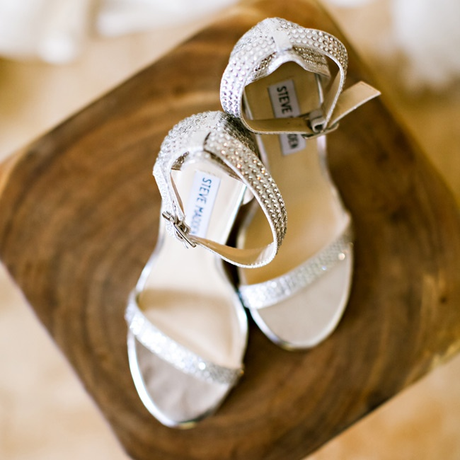 Tosca completed her wedding day ensemble with a jeweled pair of Steve Madden sandals.