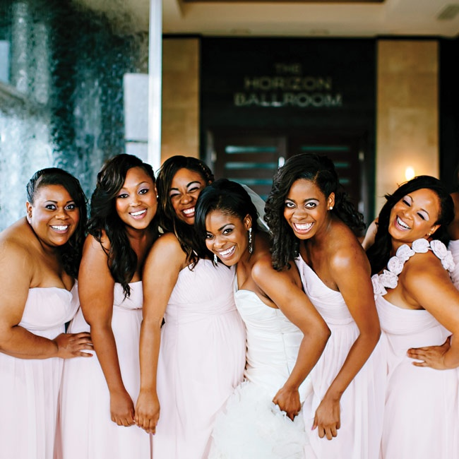 """Tosca's bridesmaids all wore the same gown in different variations. """"They were each able to choose their favorite style and did a wonderful job in doing so,"""" Tosca says. """"I really wanted them all to have a soft, gorgeous pageant look, and it was a success!"""""""