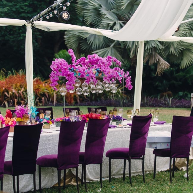 Luxurious, deep purple chairs were placed around the head table, which was topped with low arrangements of boldly colored flowers.