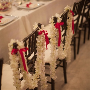 Orchid Garland on Bride & Groom Chairs
